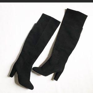 Halogen Black Suede over the knee boots